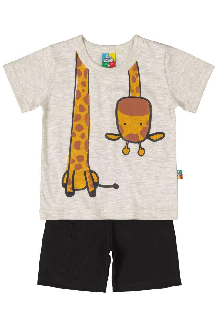 Conjunto Infantil Camiseta e Bermuda Microfibra Bee Loop Girafa Mescla