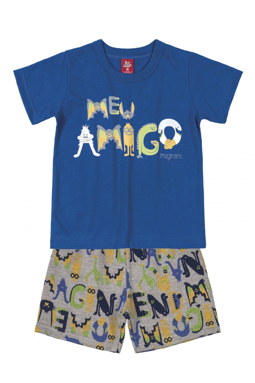 Conjunto Infantil Camiseta e Bermuda Moletinho Bee Loop Meu Amigo Azul / Mescla