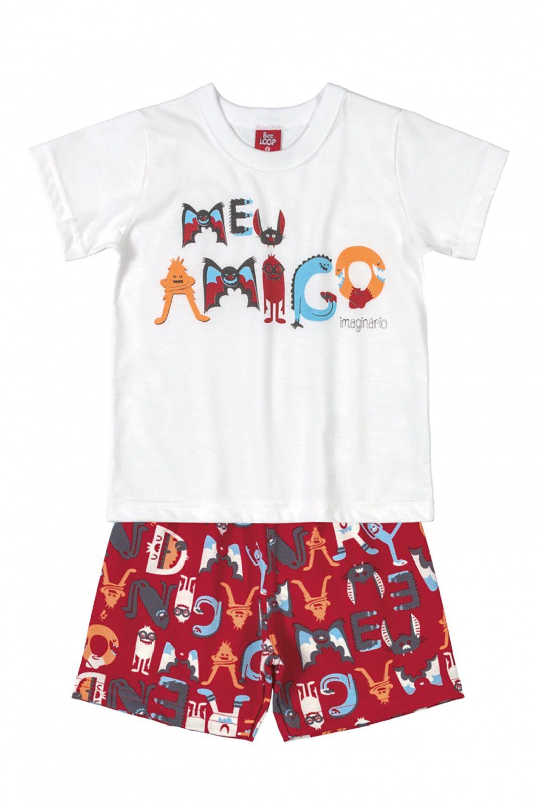 Conjunto Infantil Camiseta e Bermuda Moletinho Bee Loop Meu Amigo Branco/Vermelho