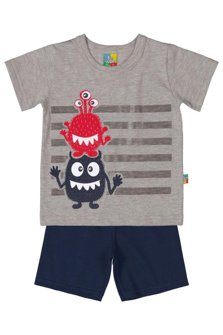 Conjunto Camiseta e Bermuda Moletinho Bee Loop Monstrinho Mescla