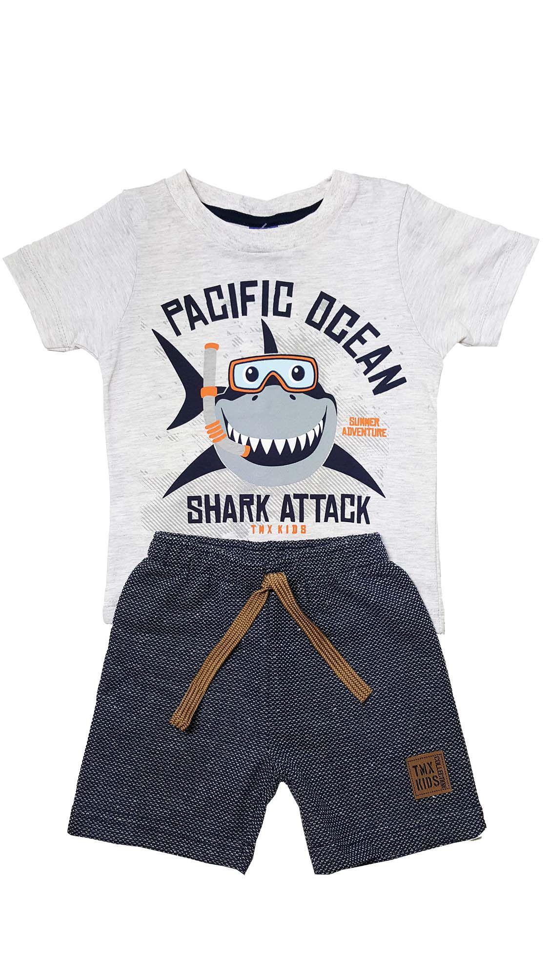 Conjunto Infantil Camiseta e Bermuda Moletom  Ecológico TMX  Tubarão  Mescla