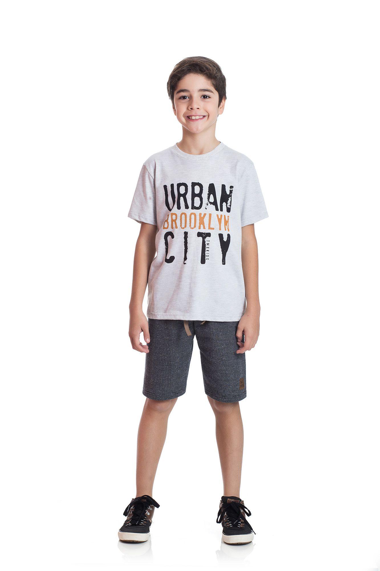 06b51889fa ... Conjunto Camiseta e Bermuda Moletom Ecológico TMX Urban Azul Marinho    Tamanho 8 - Sonho ...