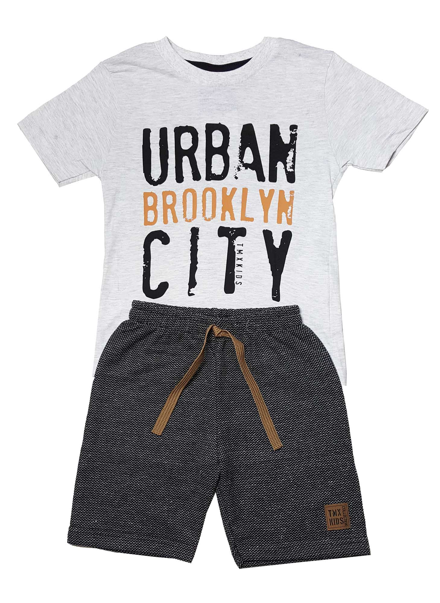 be29375393 Conjunto Camiseta e Bermuda Moletom Ecológico TMX Urban Mescla Preto -  Sonho colorido ...