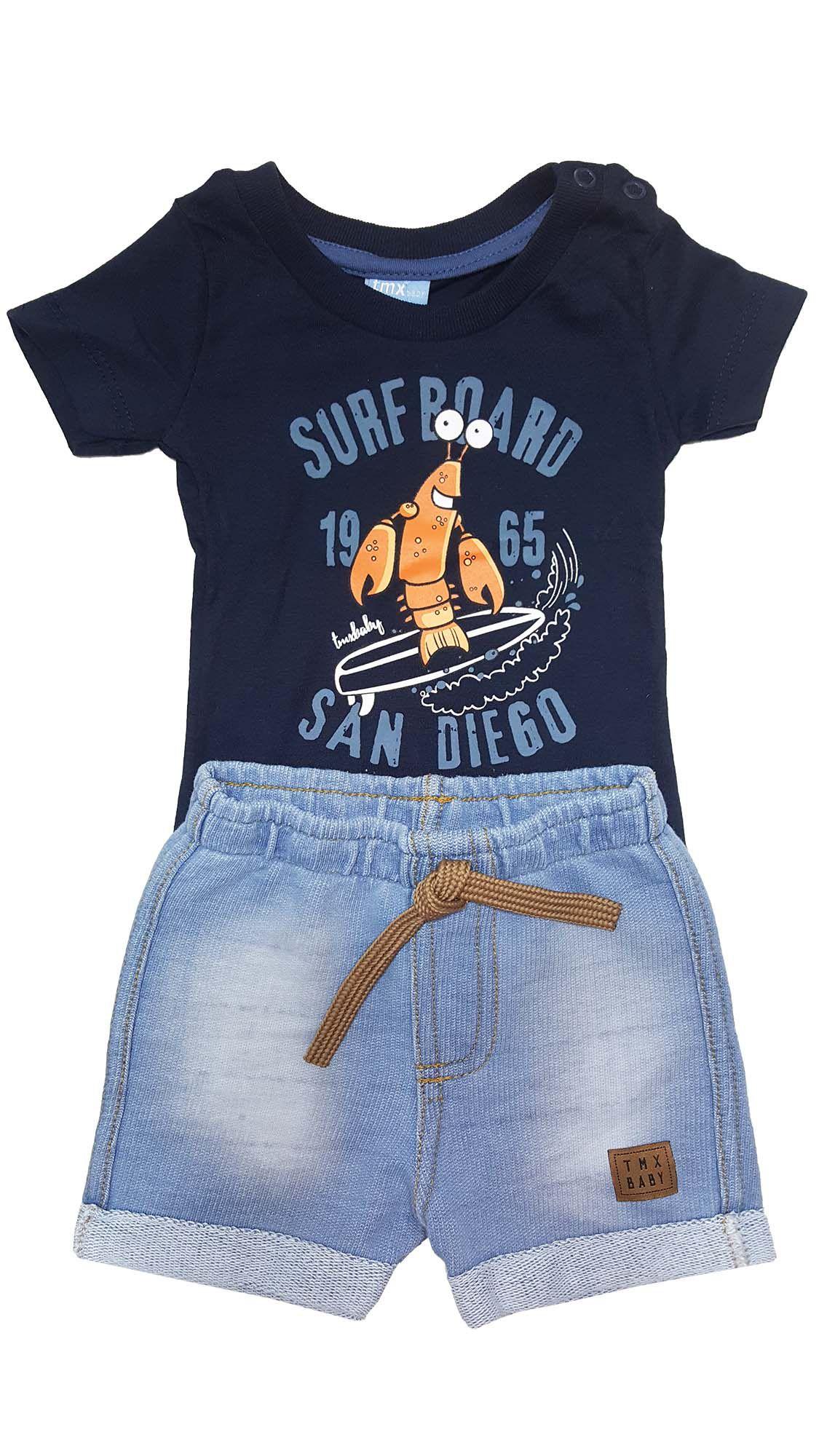 Conjunto Bebê Camiseta e Bermuda Moletom Jeans  TMX  Surf Board Marinho