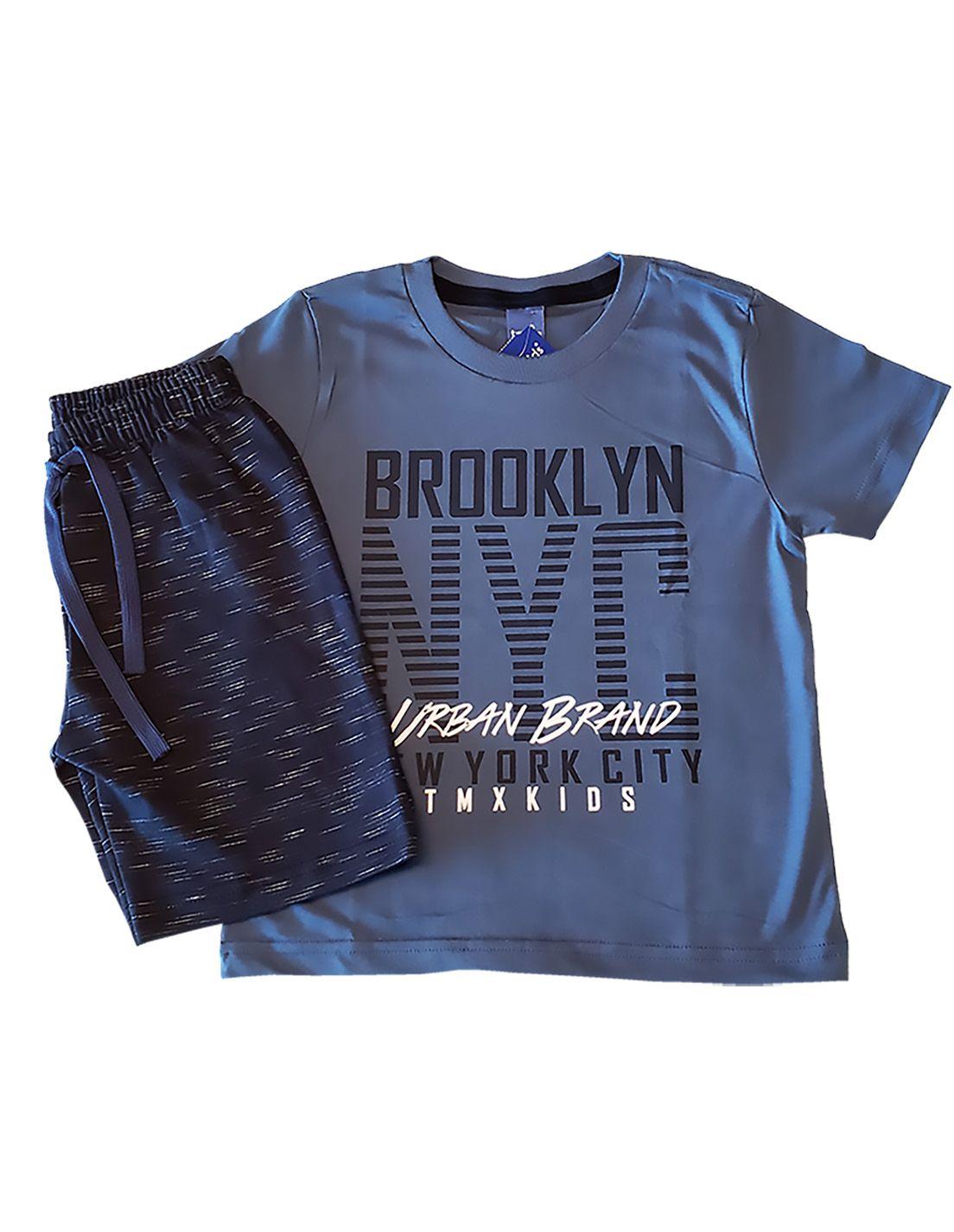 Conjunto Infantil Camiseta e Bermuda Moletom Jet  TMX  Brooklyn Índigo/ Marinho
