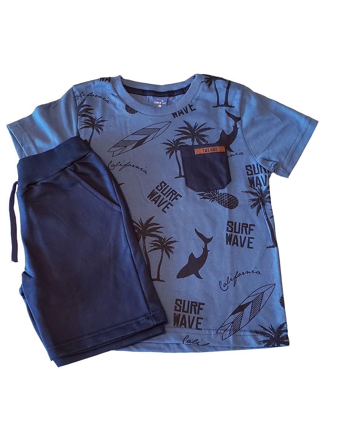 Conjunto Camiseta e Bermuda Moletom  TMX  Beach Índigo/ Marinho