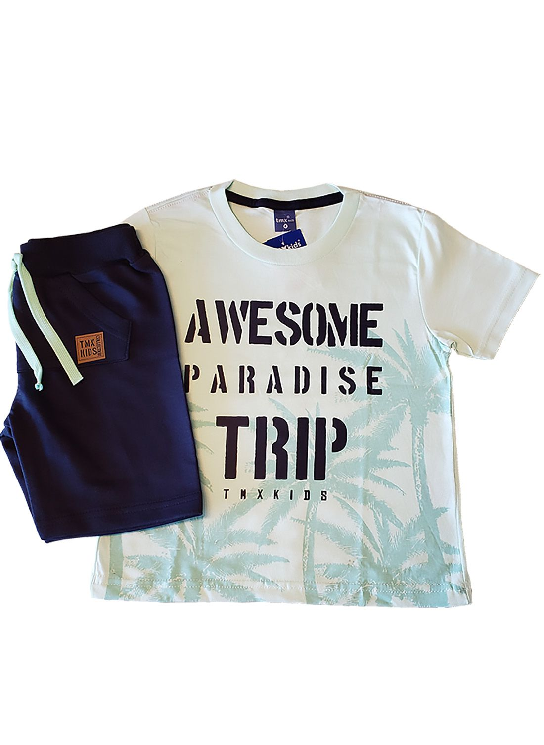 Conjunto Infantil Camiseta e Bermuda Moletom TMX  Brooklyn Menta Marinho