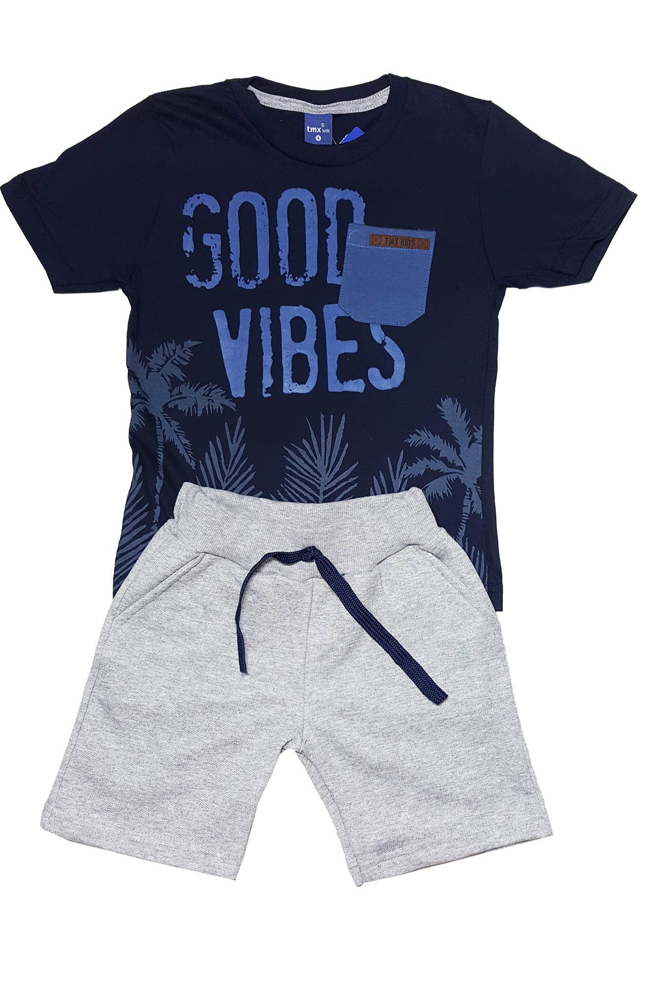 Conjunto Camiseta e Bermuda Moletom  TMX  Good Vives Marinho /Mescla