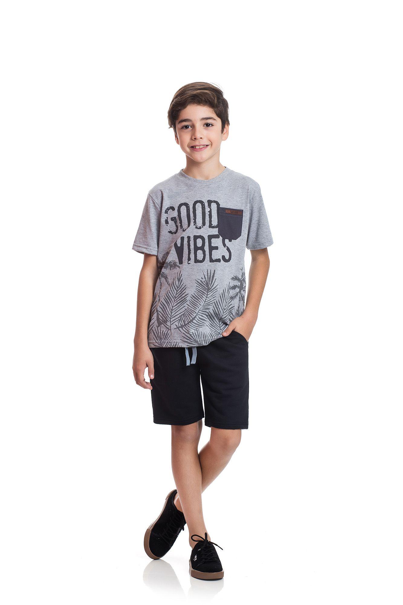 Conjunto Camiseta e Bermuda Moletom  TMX  Good Vives Mescla Preto