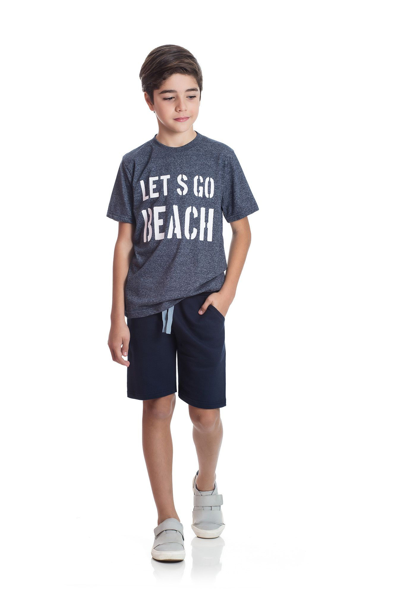 Conjunto Camiseta e Bermuda Moletom  TMX  Lets Go Índigo/Marinho / Tamanho 4