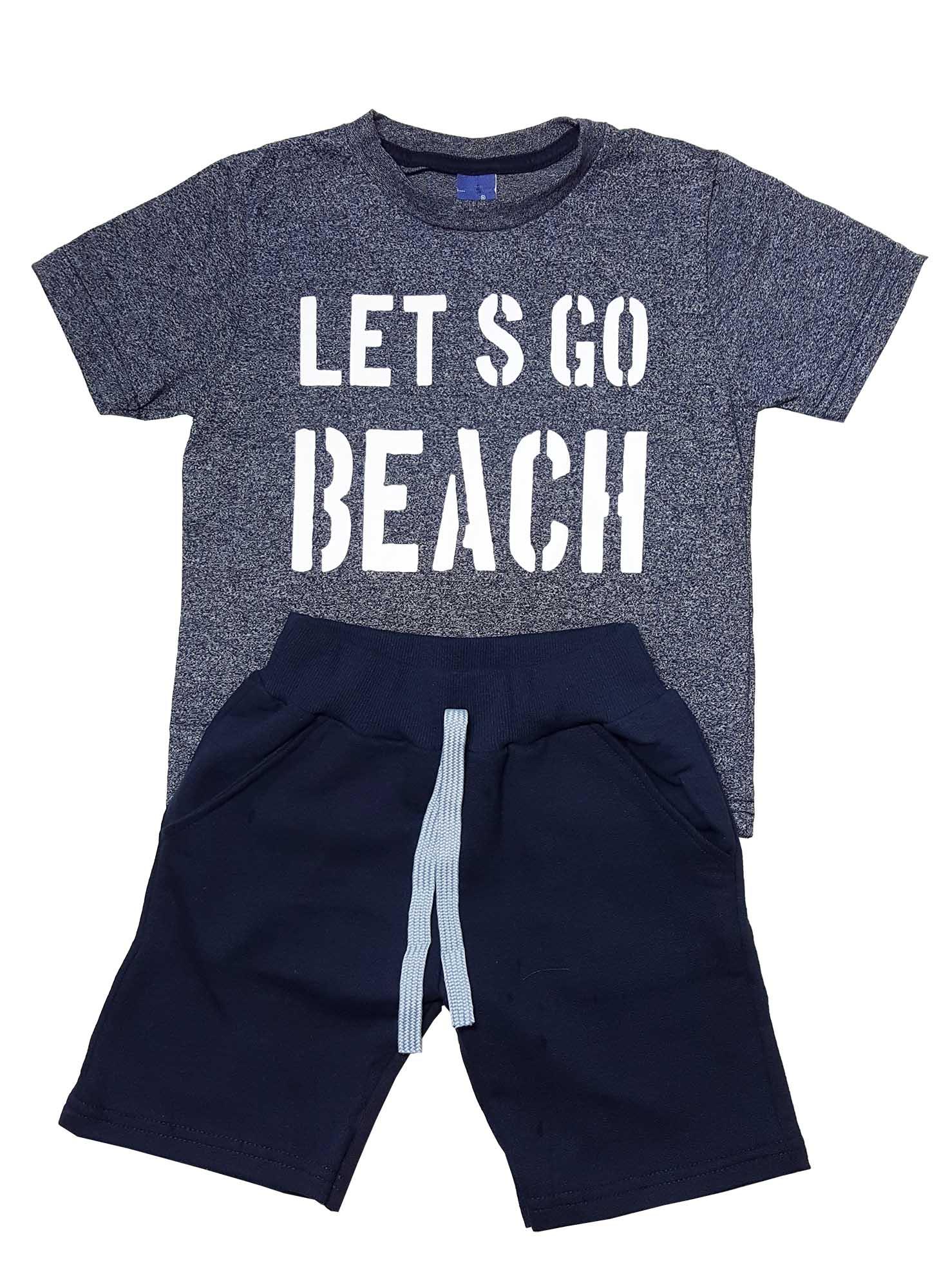 Conjunto Infantil Camiseta e Bermuda Moletom  TMX  Lets Go Marinho - TAMANHO 6