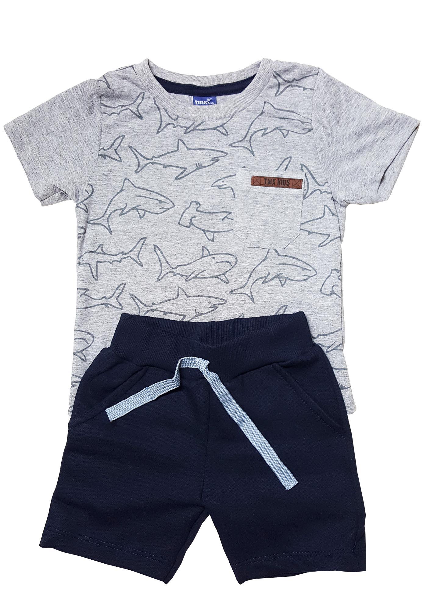 Conjunto Camiseta e Bermuda Moletom  TMX  Shark Mescla / Tamanho 1