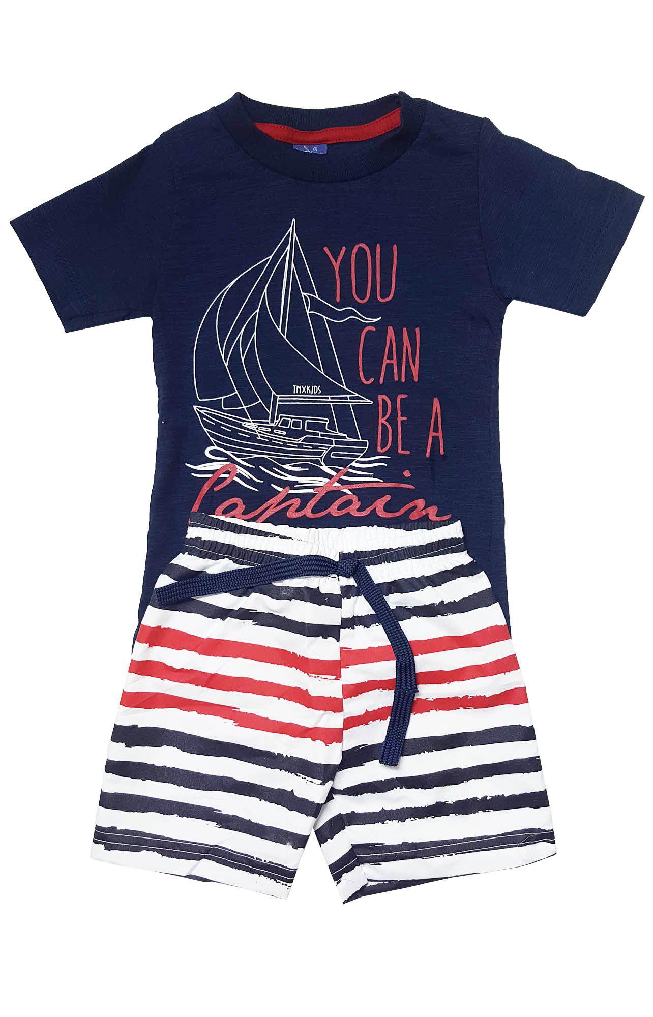 Conjunto Camiseta e Bermuda Tactel TMX  Captain Marinho  / Tamanho 1