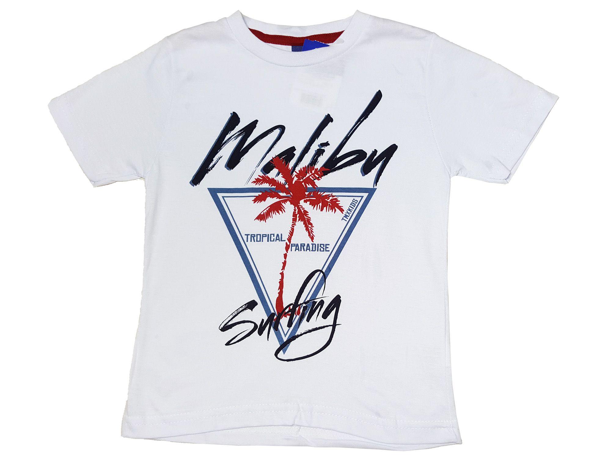 Conjunto Camiseta e Bermuda Tactel TMX Malibu Branco /Tamanho 4