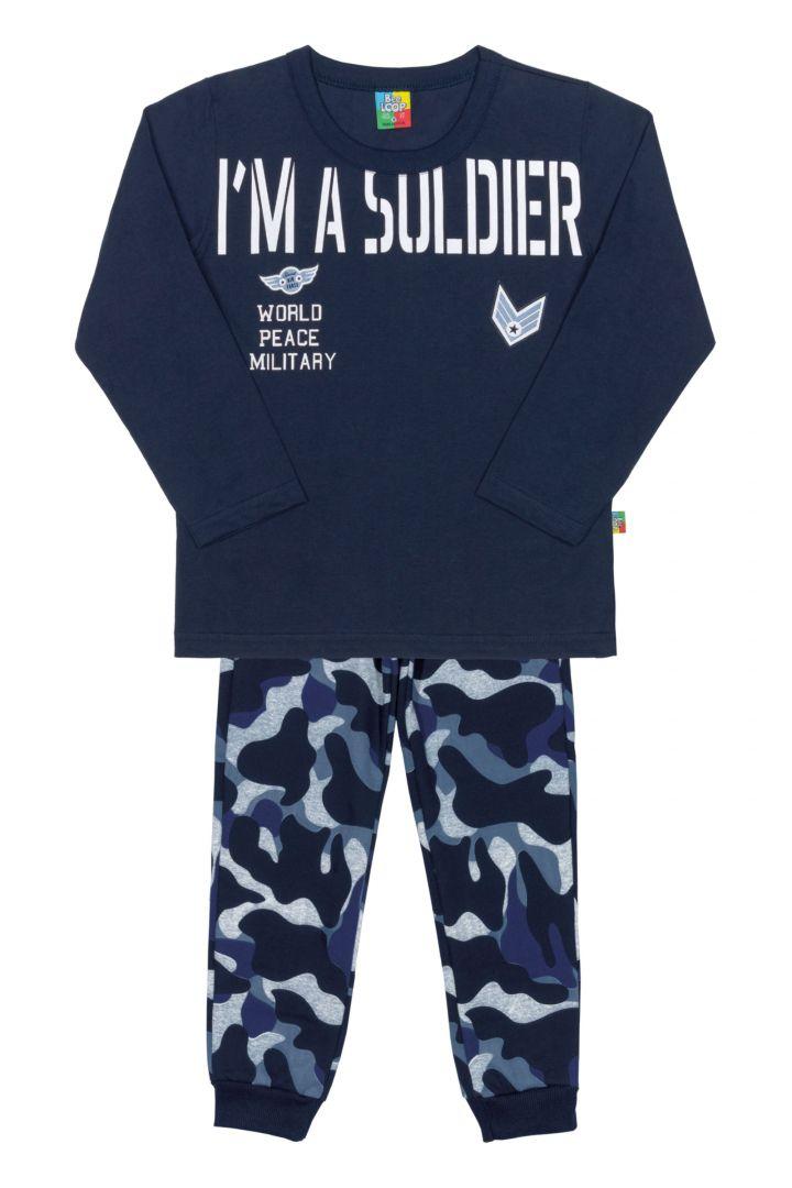 Conjunto Camiseta e Calça em Moletinho Bee Loop Soldier Camuflado Marinho - Tamanho 4
