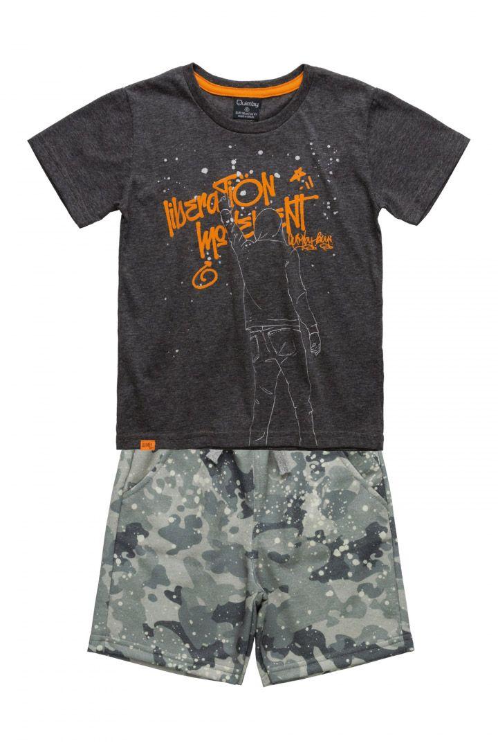 Conjunto Infantil Camiseta em meia malha e Bermuda em moletinho Quimby Cinza