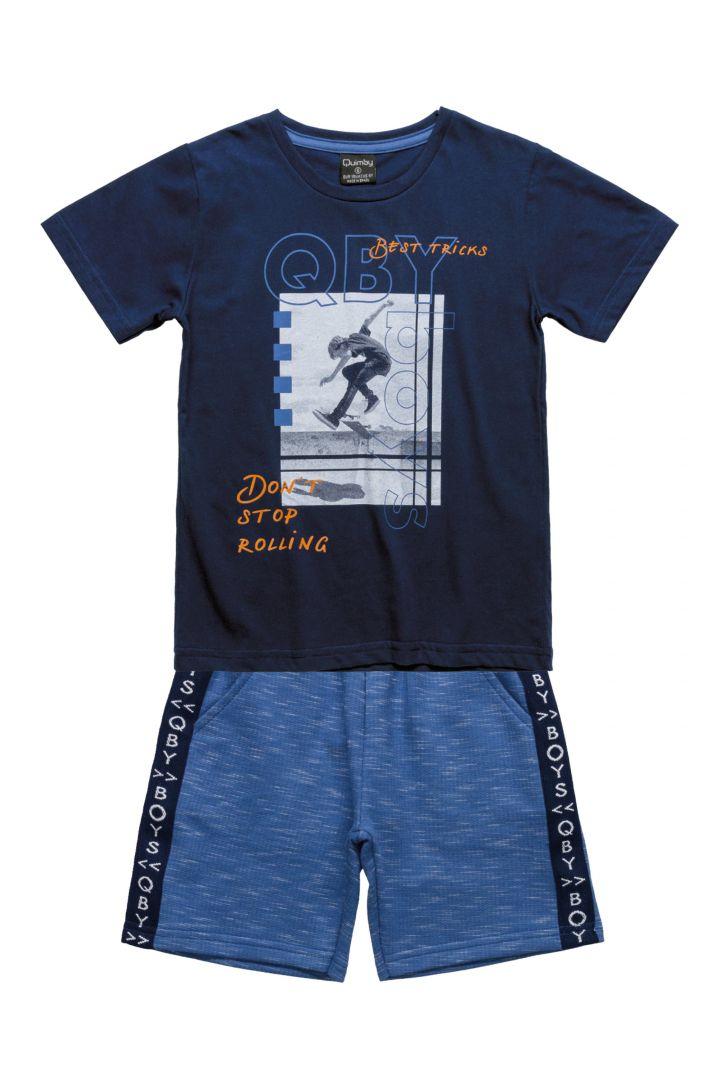 Conjunto Infantil Camiseta em meia malha e Bermuda em moletom Quimby Azul