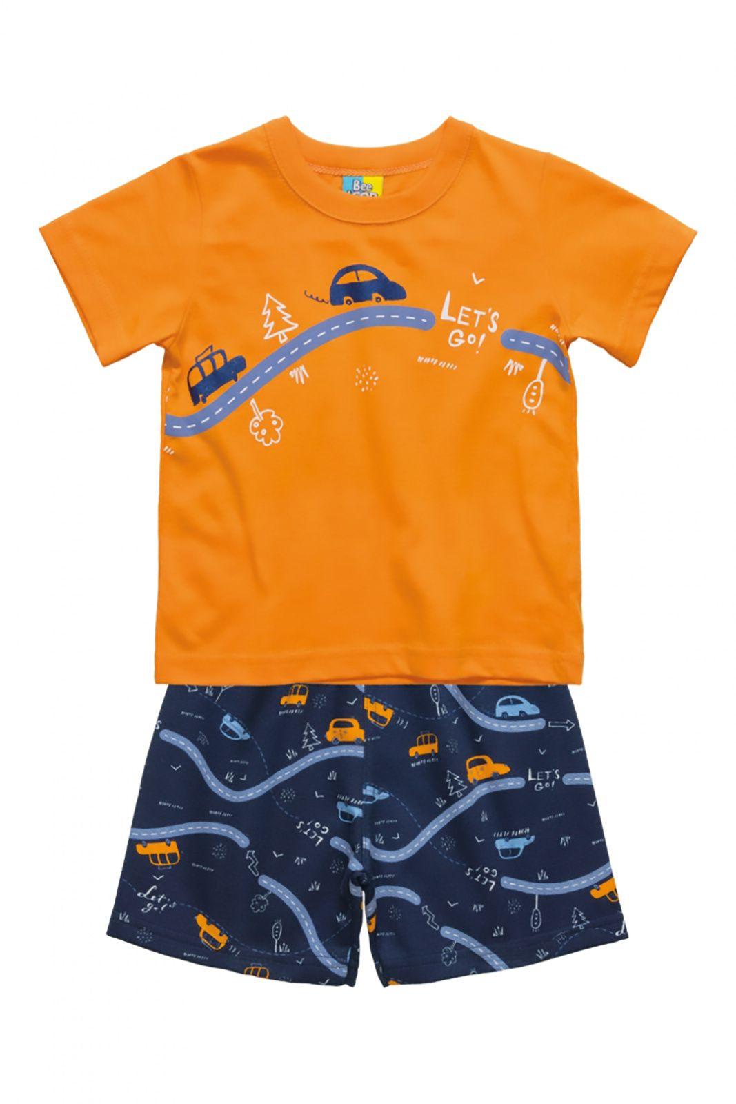 Conjunto Camiseta em meia malha e Bermuda Moletinho Bee Loop Carrinho Laranja/Marinho