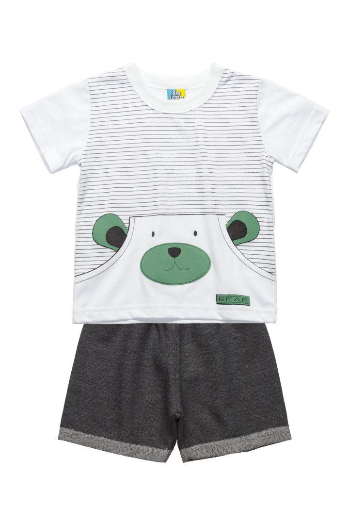 Conjunto Infantil Camiseta em meia malha e Bermuda Moletinho Bee Loop Ursinho Branco/Cinza