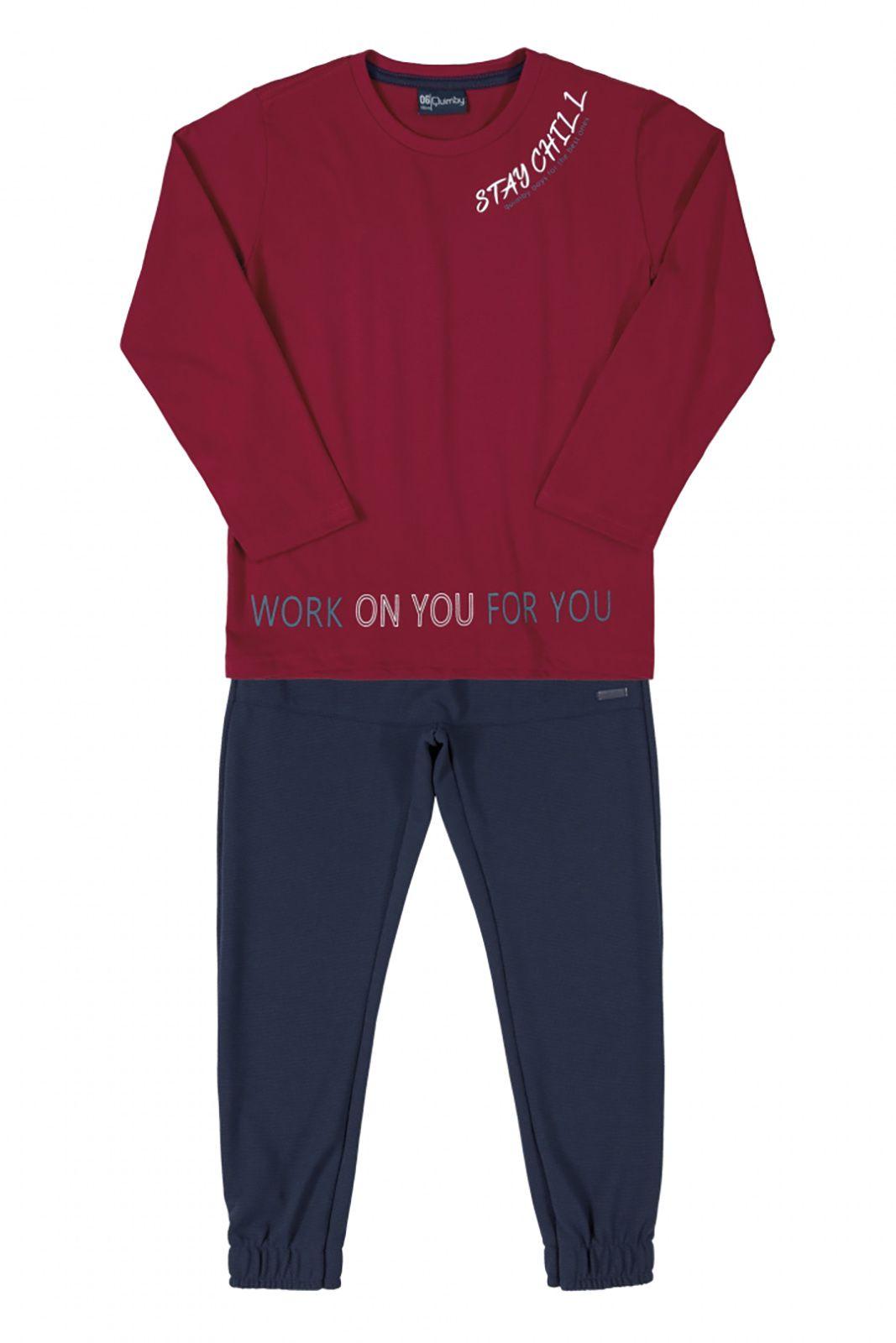 Conjunto Infantil camiseta em meia malha e calça  em piquet  favinho Quimby vermelho
