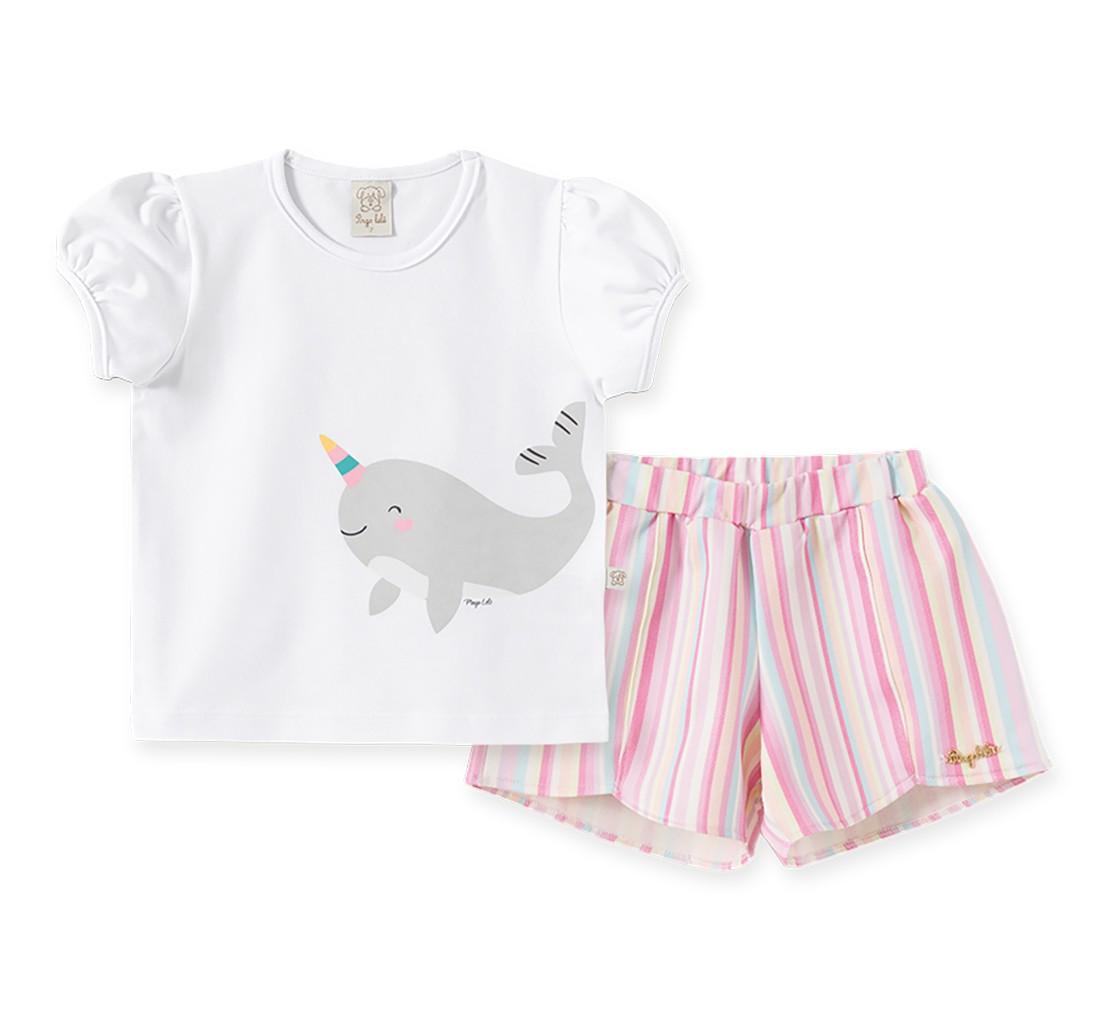 Conjunto Infantil Camiseta  manga curta com  short Pingo Lelê  Baleia Arco iris
