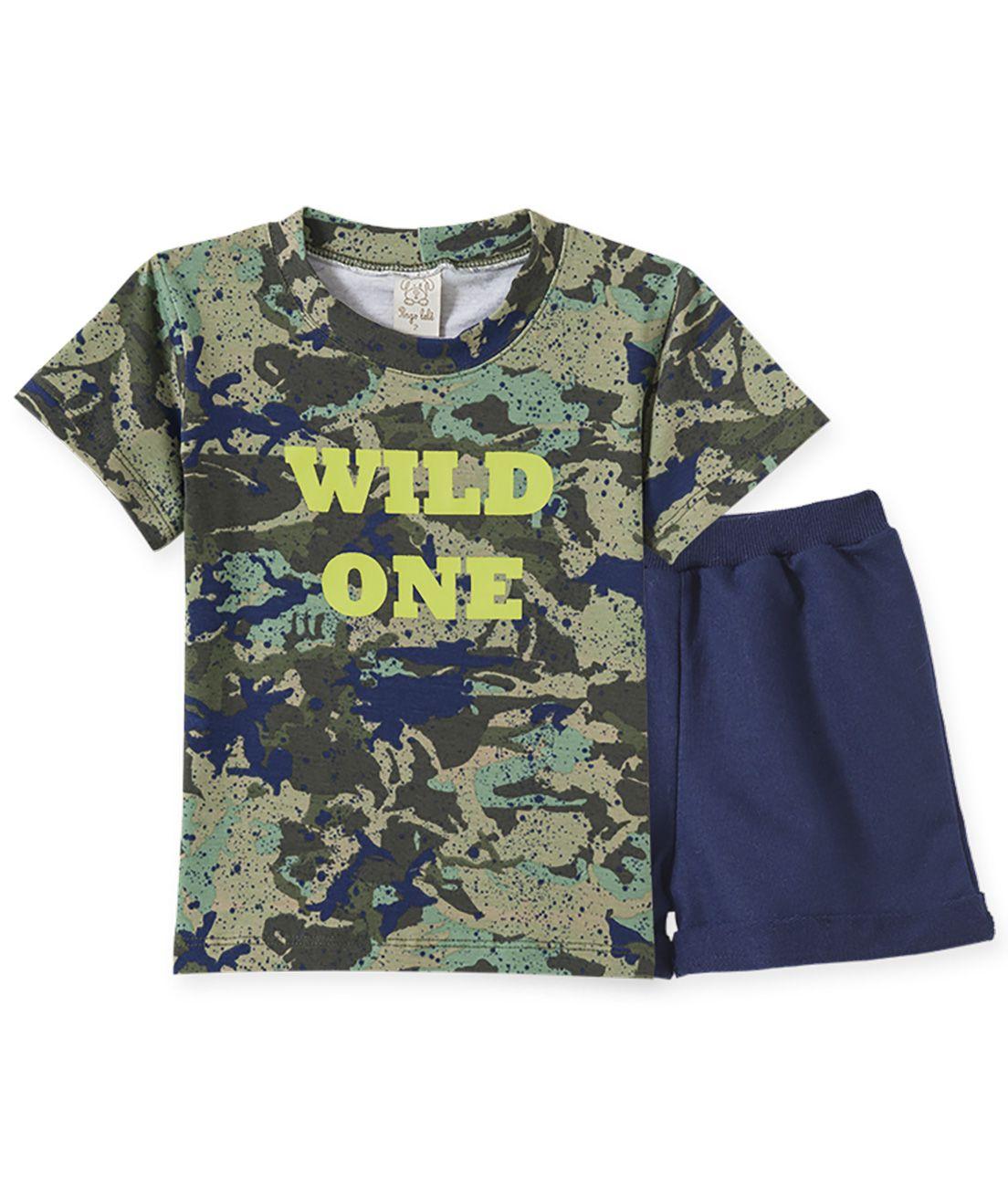 Conjunto Infantil Camiseta manga curta com short  Pingo Lelê Camuflado