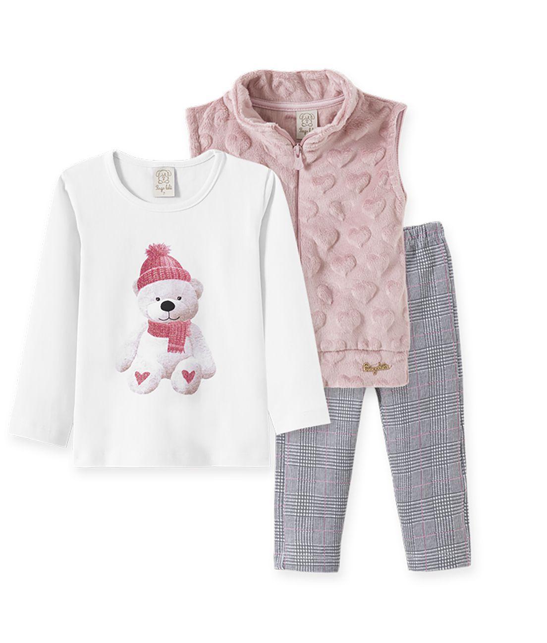 Conjunto camiseta manga longa, Calça Cotton e Colete  Pelo Pingo Lelê ursinha  xadrez e rosa