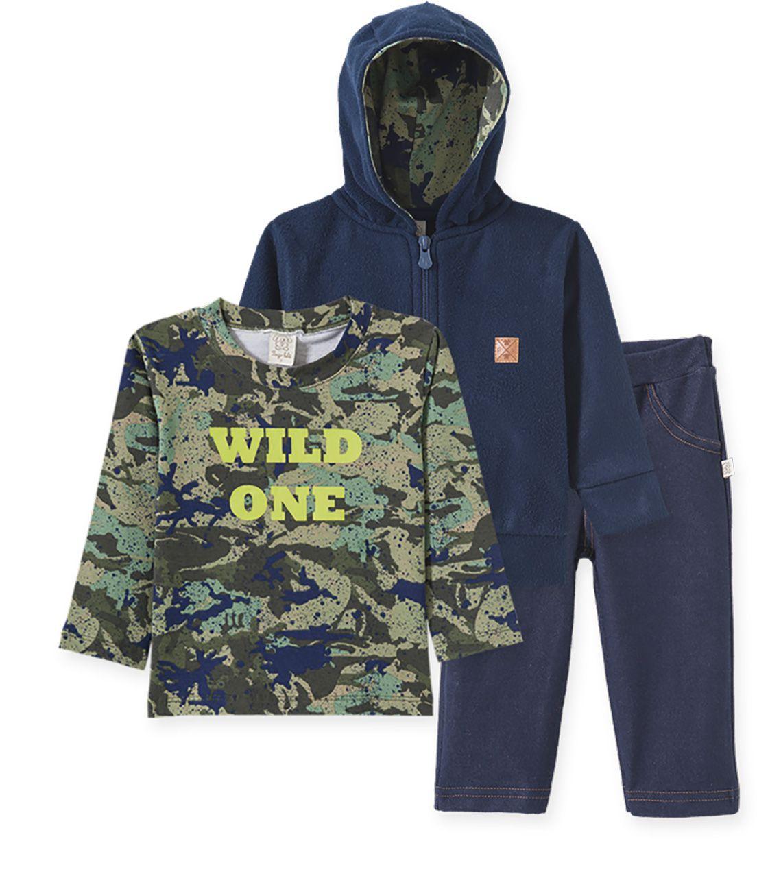 Conjunto Infantil Camiseta manga longa, Calça Cotton  Jeans e Casaco com capuz em  Soft Pingo Lelê camuflado verde e marinho