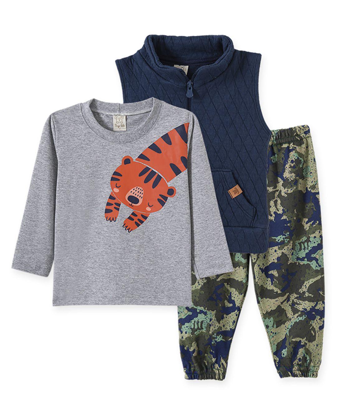 Conjunto Infantil camiseta manga longa, Calça e Colete Metalassê Pingo Lelê Marinho, mescla e Camuflado