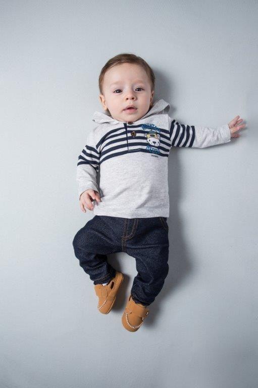 Conjunto  Camiseta Meia Malha e Calça Cotton Jeans TMX Mescla / Tamanho P