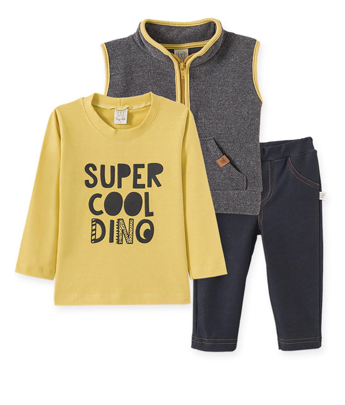 Conjunto Camiseta Suedine manga longa, Calça  Cotton Jeans e Colete  Soft Pelo Pingo Lelê  Dinossauro Amarelo/Cinza