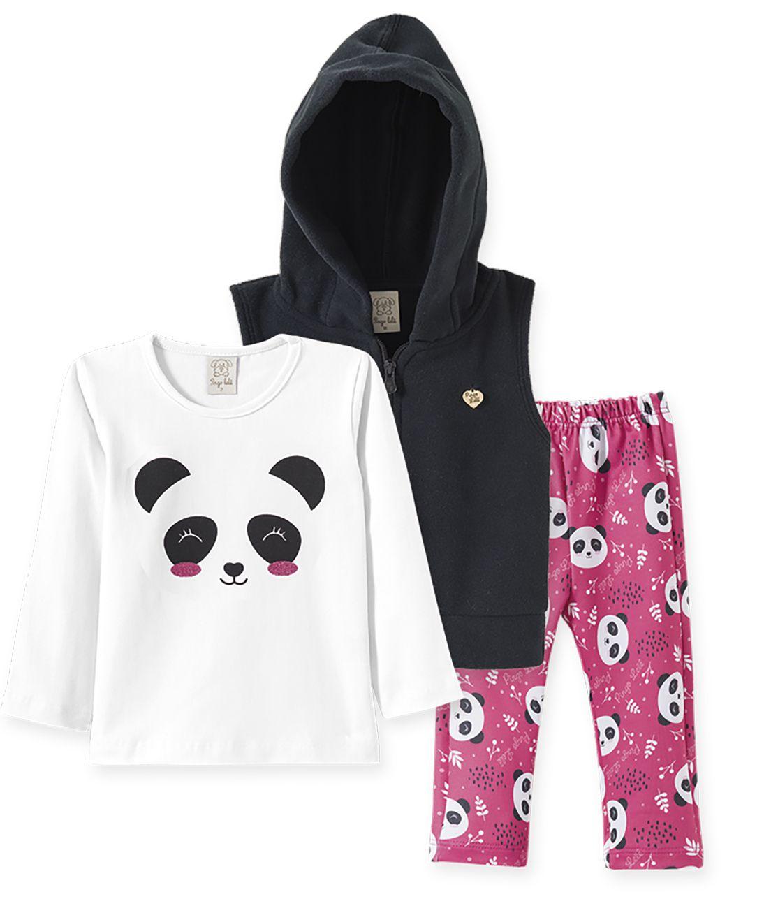 Conjunto Infantil Camiseta Suedine manga longa, Calça Malha Térmica e Colete  Soft Pelo Pingo Lelê  Panda Rosa/Preto