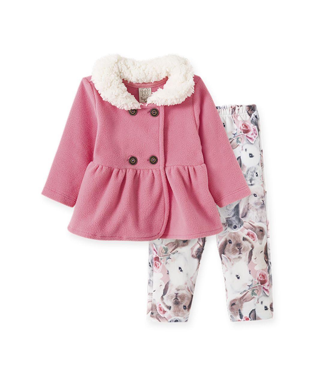 Conjunto casaco em soft e calça em malha térmica Pingo Lelê coelha rosa
