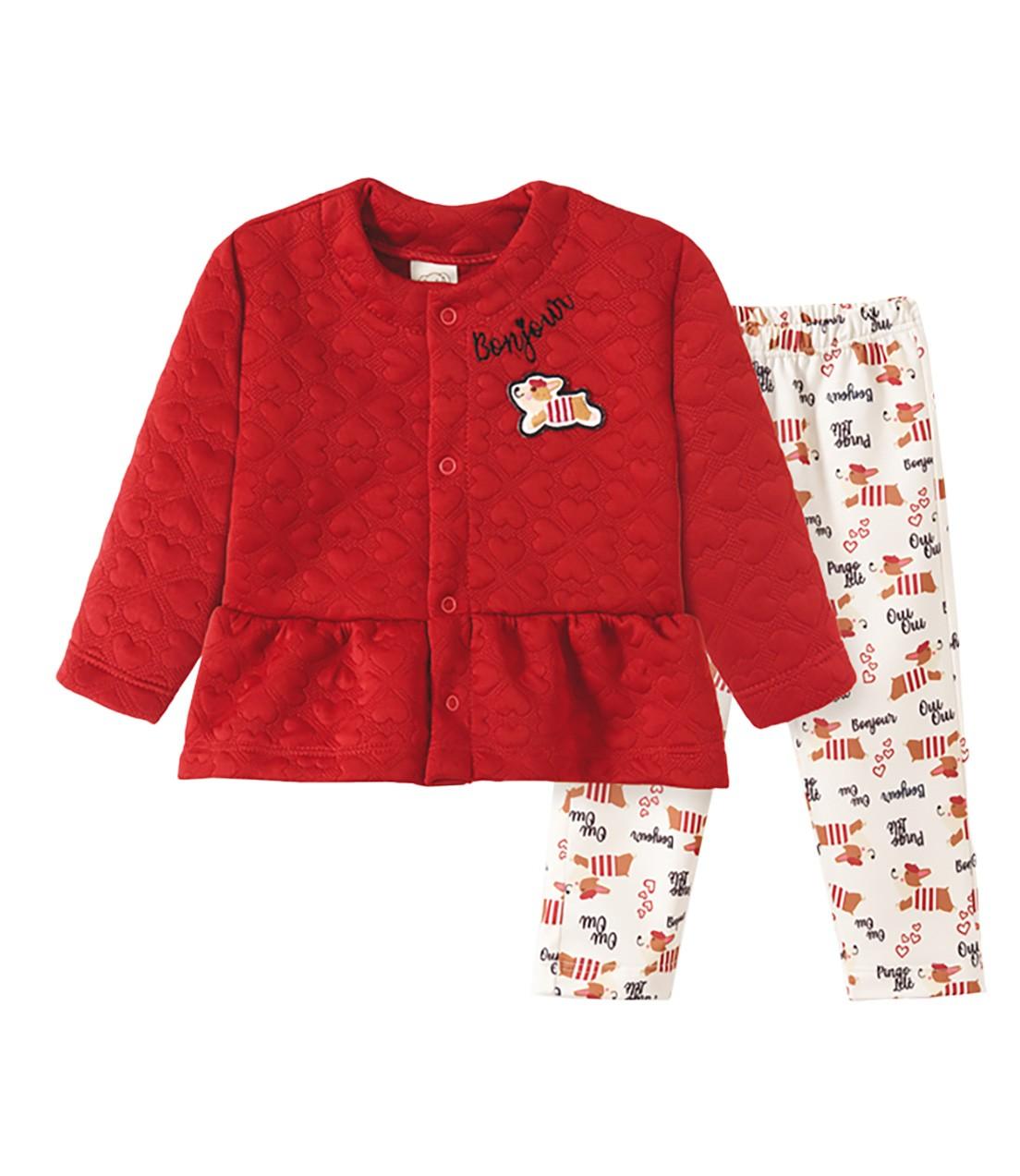 Conjunto Casaco Metalassê e Calça confort Pingo Lelê Cachorrinho Vermelho