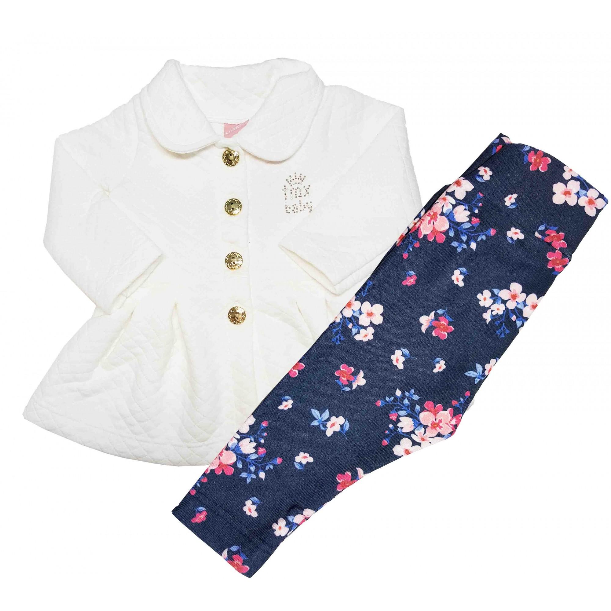 Conjunto Bebê Casaco Metelassê e Legging cotton TMX Marfim/Florzinhas