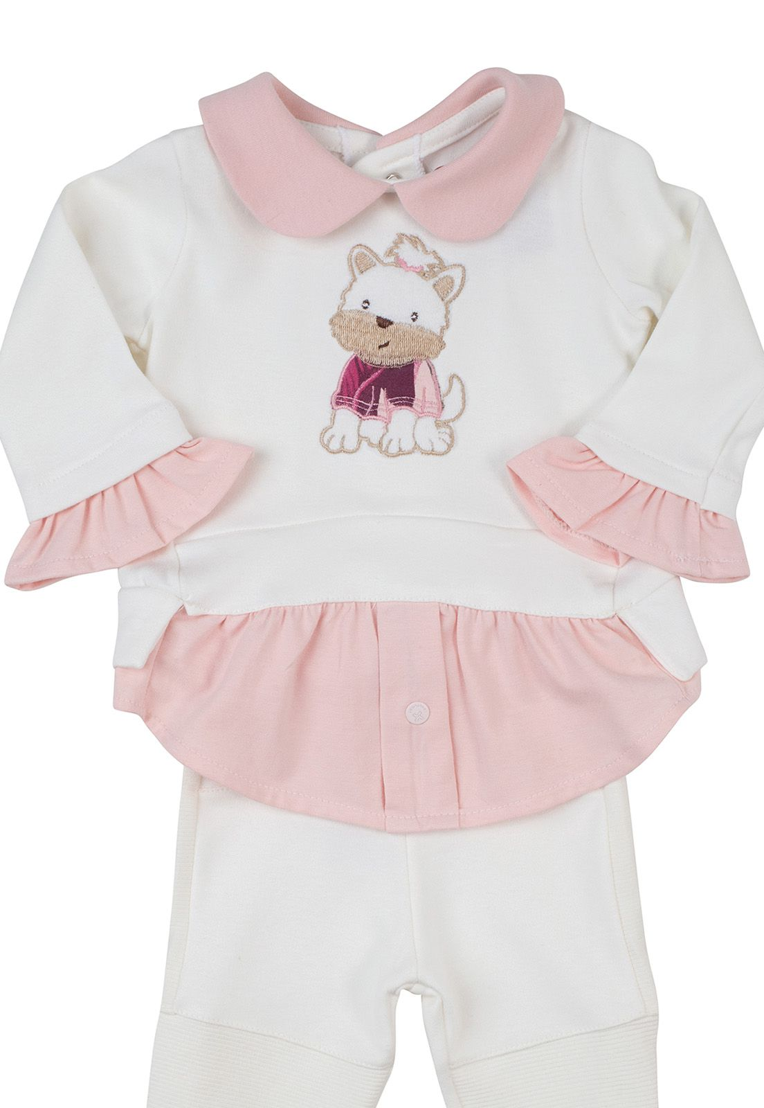 Conjunto Coquelicot  2 peças Camisa feminina e Calça legging  Creme/Rosa