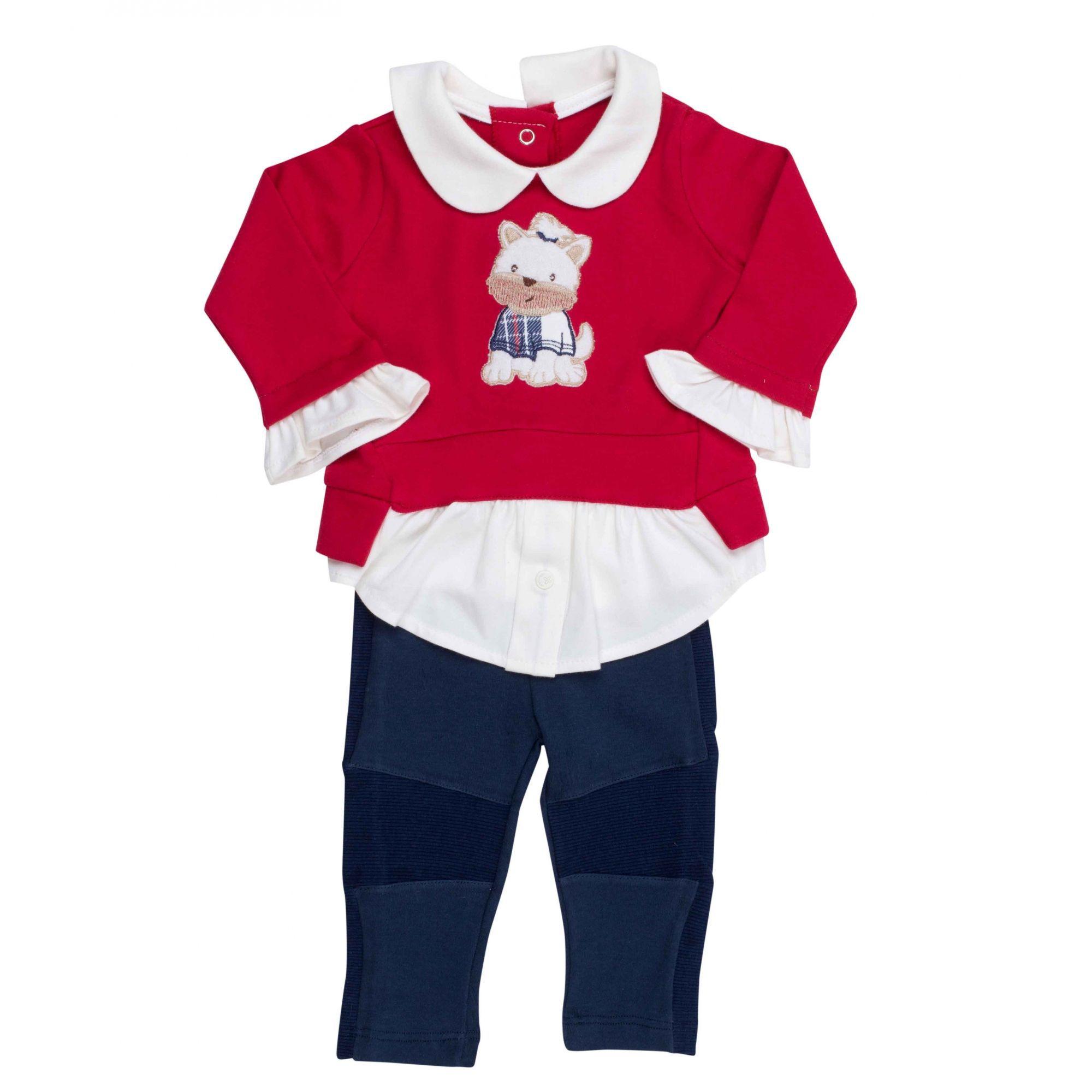 Conjunto Infantil Coquelicot  2 peças Camisa feminina e Calça legging Vermelho/Marinho