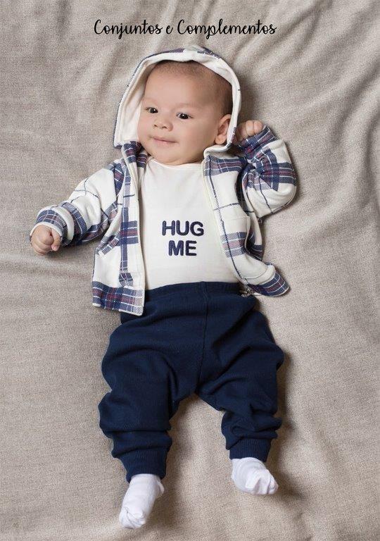 Conjunto Coquelicot  3 peças Body, Casaco, Calça  Hug Me Ursinho Azul