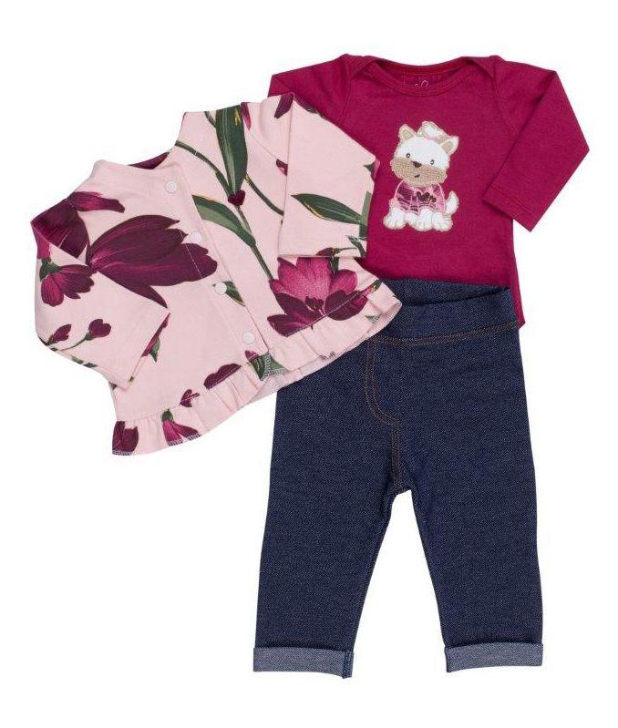 Conjunto Coquelicot  3 peças Body, Casaco, Calça Legging Jeans Cachorrinha Vinho Floral / Tamanho 9 a 12 meses