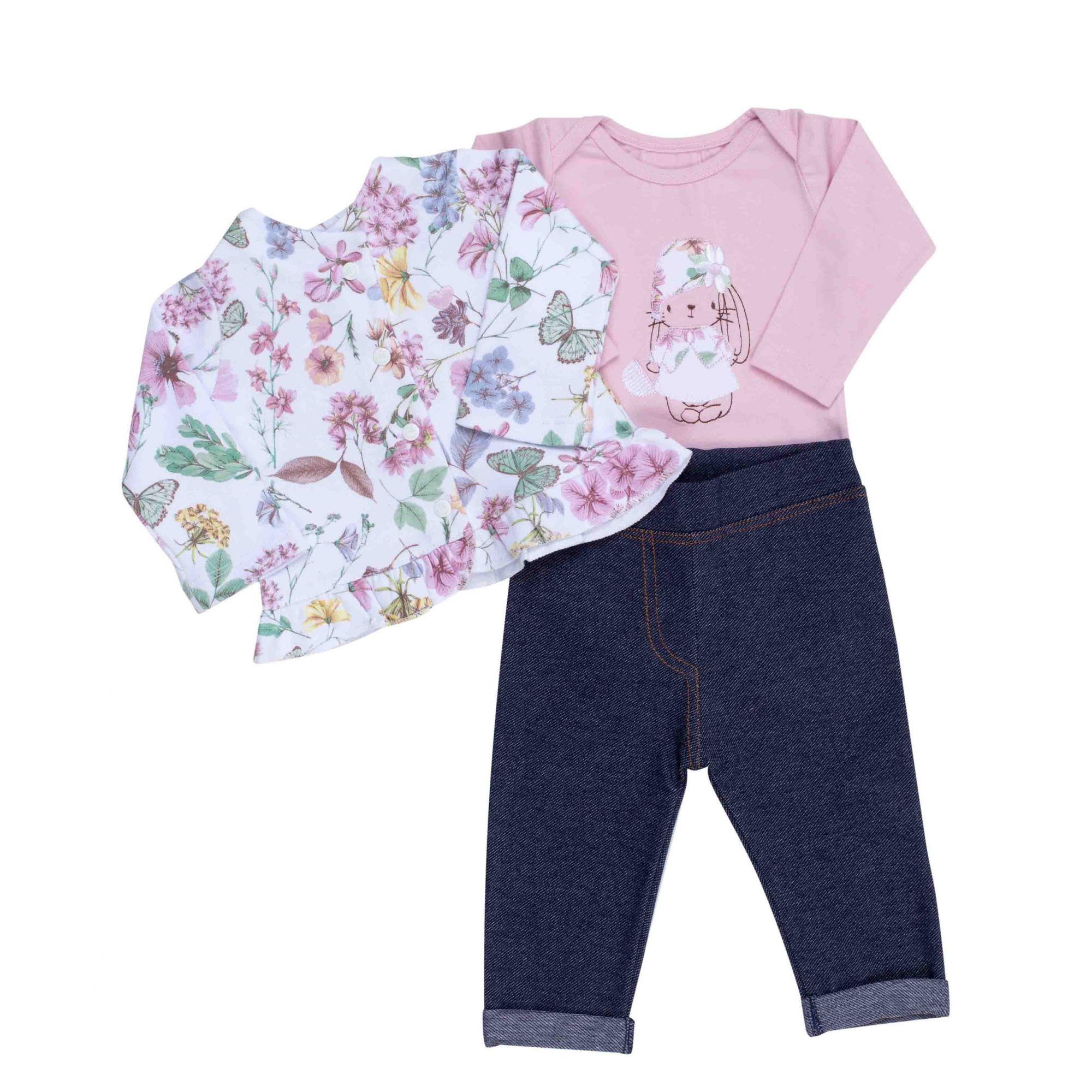 Conjunto Coquelicot  3 peças Body, Casaco, Calça Legging Jeans Coelhinha Rosa Floral