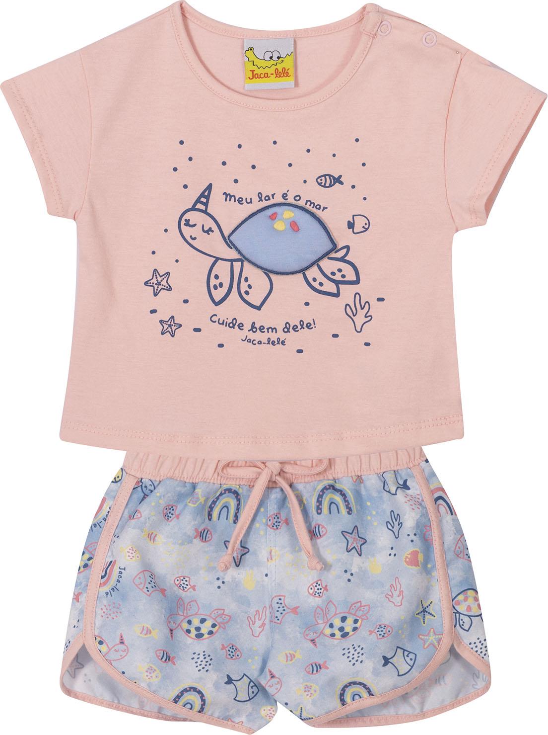Conjunto Infantil Blusa Cropped e Shorts JACA-LELÉ Tartaruga Rosa e Azul