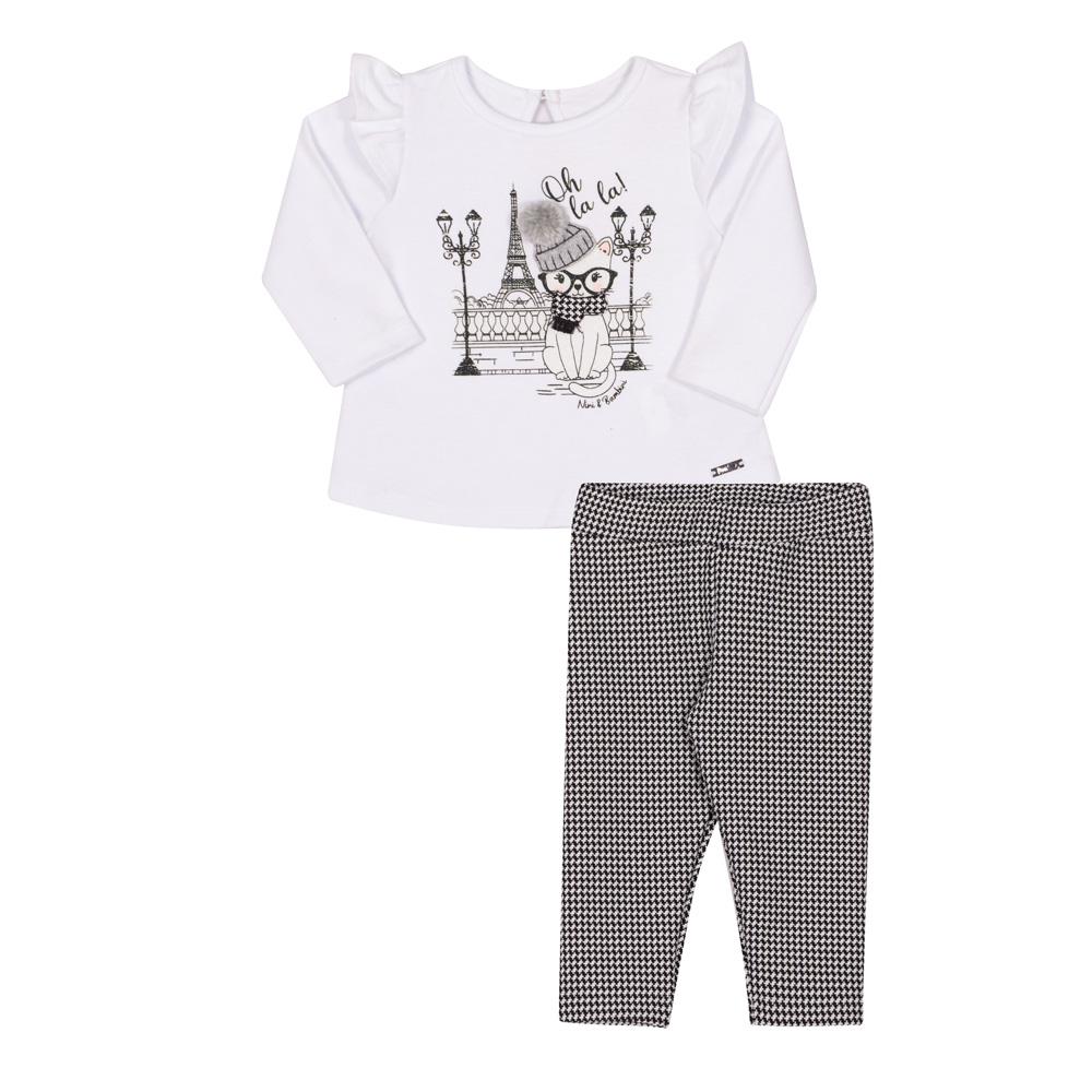 Conjunto Infantil Blusa e Calça Nini & Bambini Gatinha  Branco e Xadrez