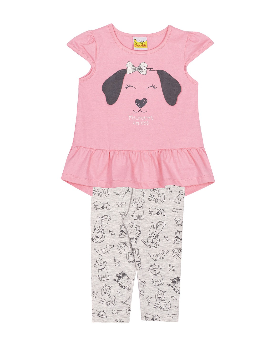 Conjunto Infantil Blusa e legging  JACA-LELÉ Cachorrinha Rosa