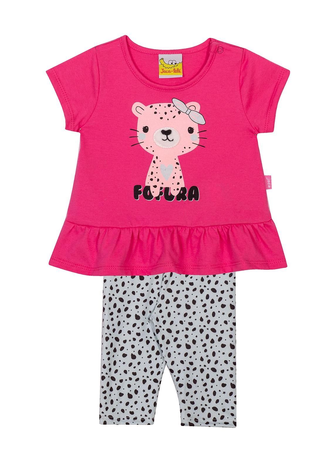 Conjunto Infantil Blusa e legging  JACA-LELÉ Oncinha Rosa