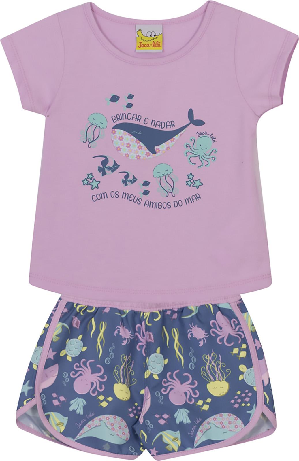 Conjunto Infantil Blusa e Shorts JACA-LELÉ  Baleia Lilás e Azul
