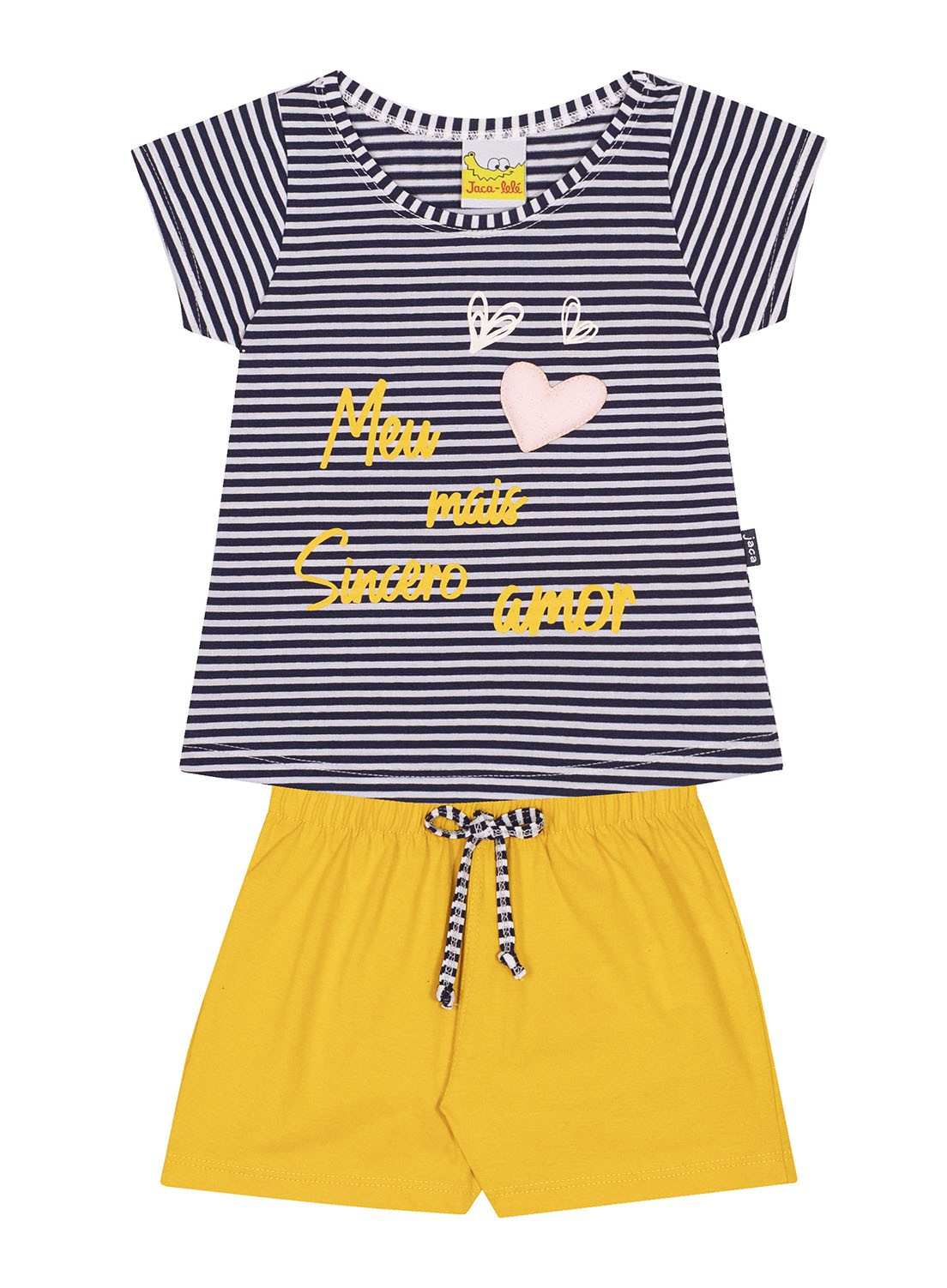 Conjunto Infantil Blusa e Shorts JACA-LELÉ Coração Listrado e Amarelo
