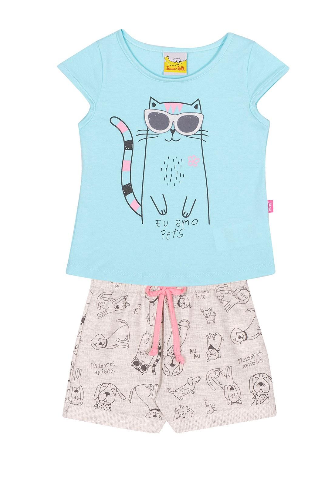 Conjunto Infantil Blusa e Shorts JACA-LELÉ Gatinha Azul