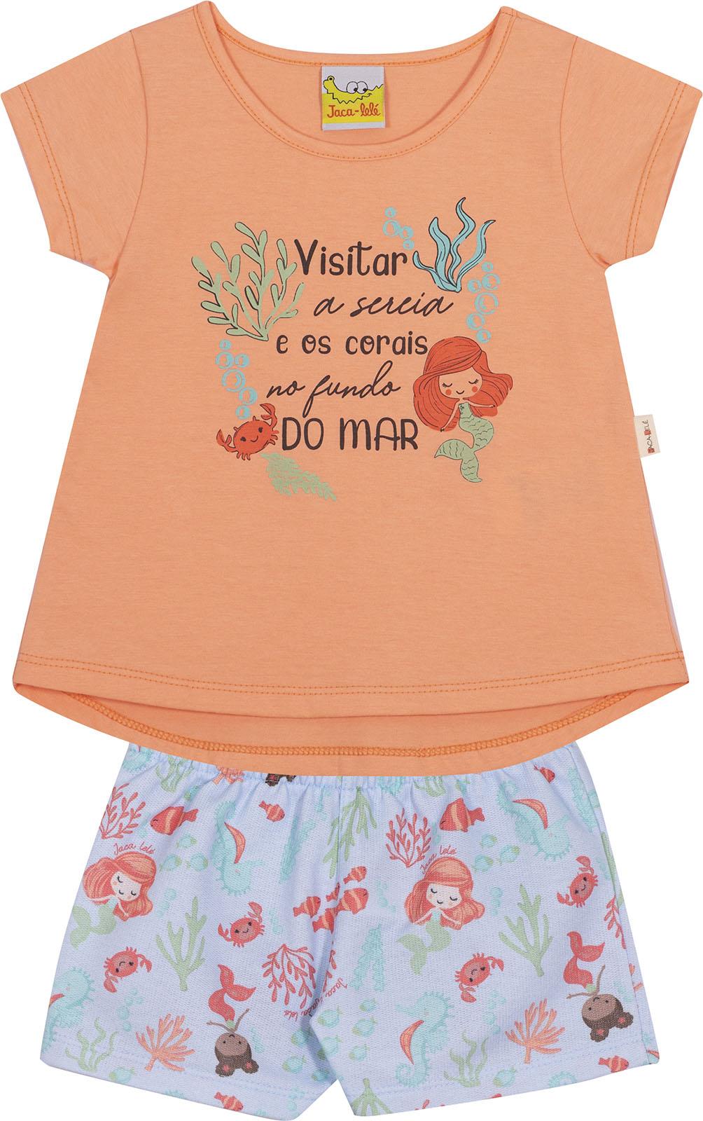Conjunto Infantil Blusa e Shorts JACA-LELÉ Sereia Laranja e Azul