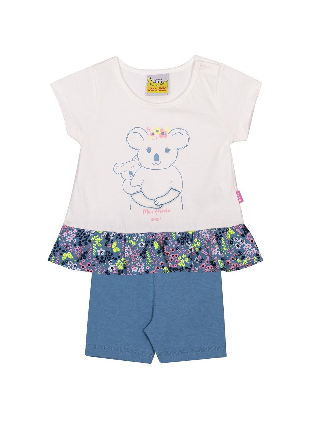 Conjunto Infantil Blusa e Shorts JACA-LELÉ  Ursinha Branco e Azul