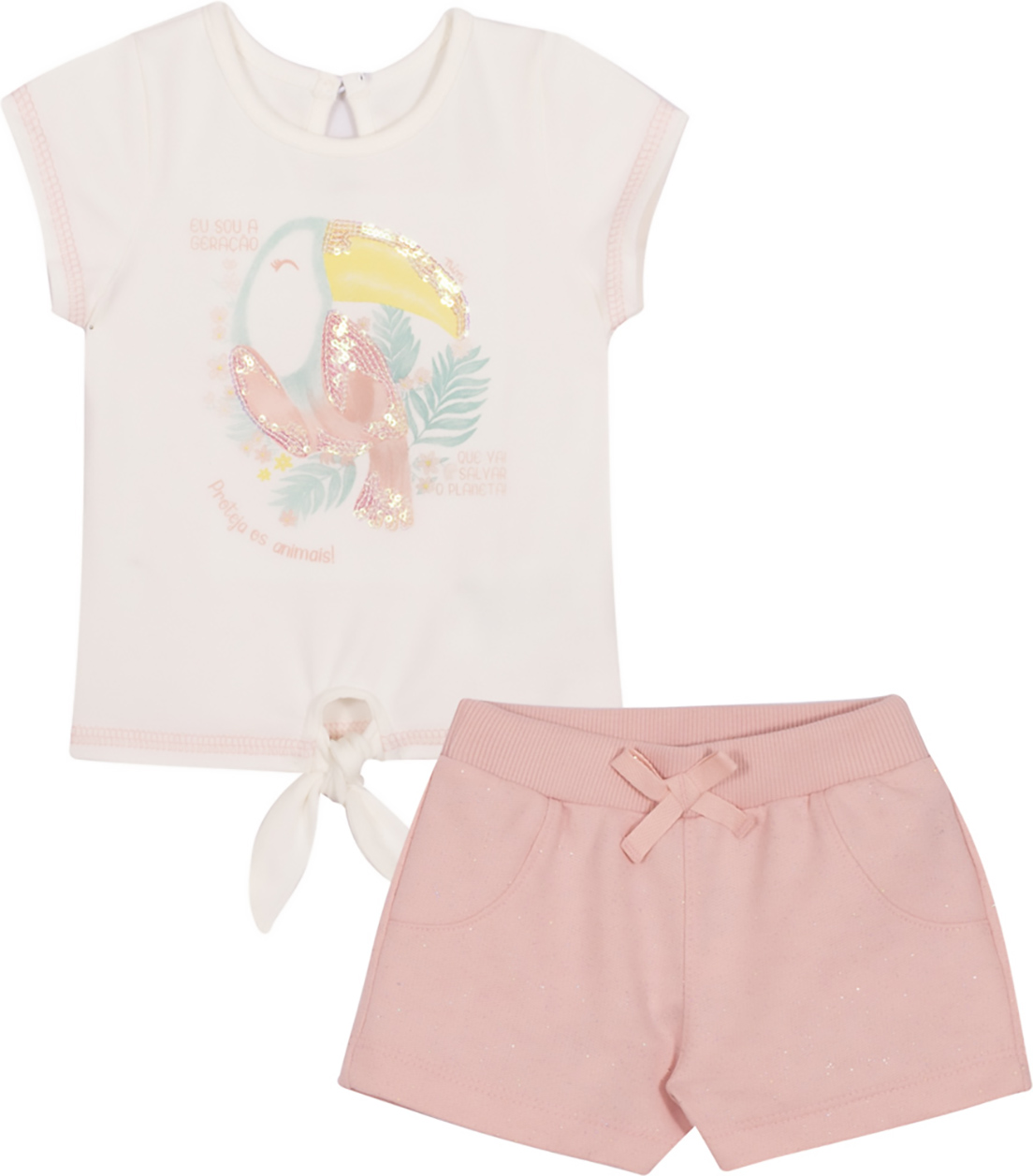 Conjunto Infantil Blusa  e Shorts Nini & Bambini Tucano Offwhite e Rosa